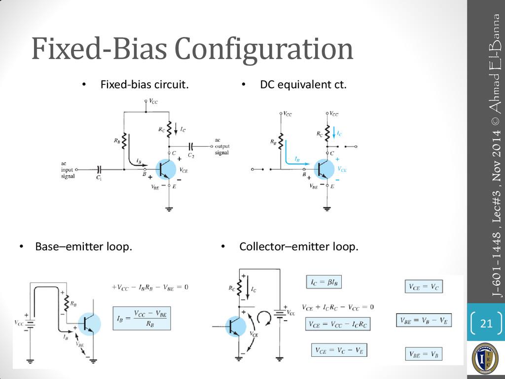 Fixed-Bias Configuration 21 • Fixed-bias circui...