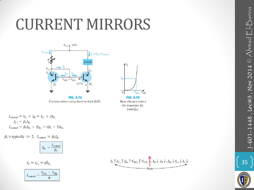 CURRENT MIRRORS 35 J-601-1448 , Lec#3 , Nov 201...