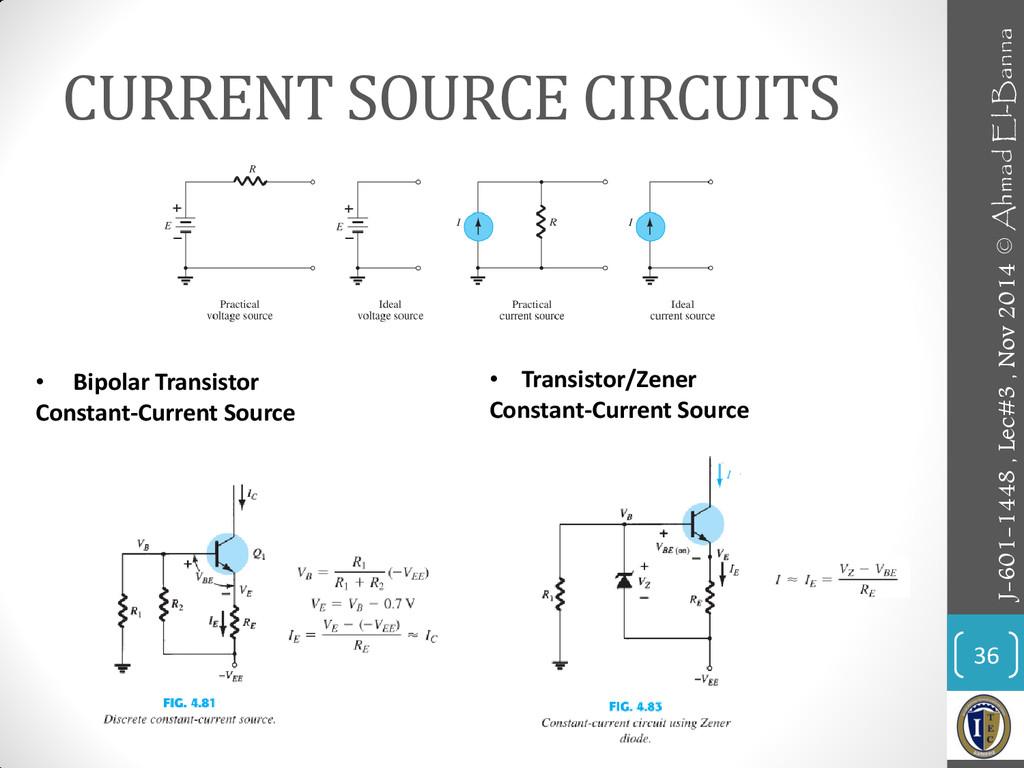 CURRENT SOURCE CIRCUITS 36 • Bipolar Transistor...