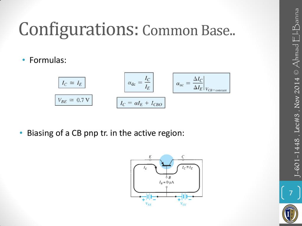 Configurations: Common Base.. • Formulas: 7 • B...