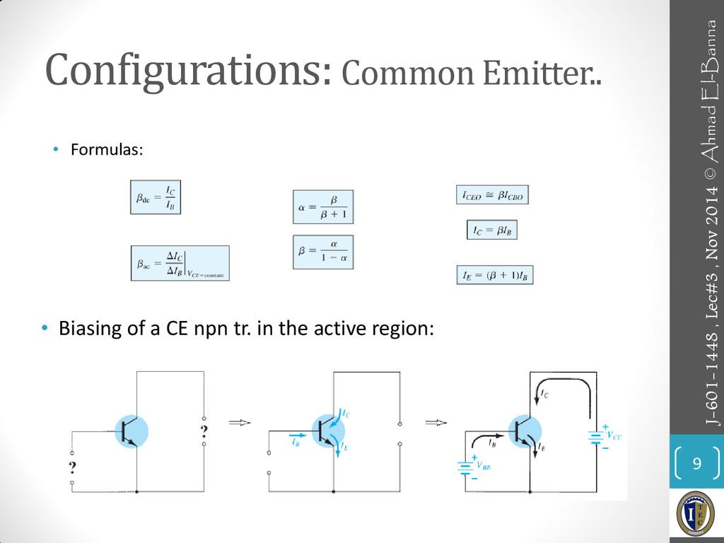 Configurations: Common Emitter.. 9 • Formulas: ...