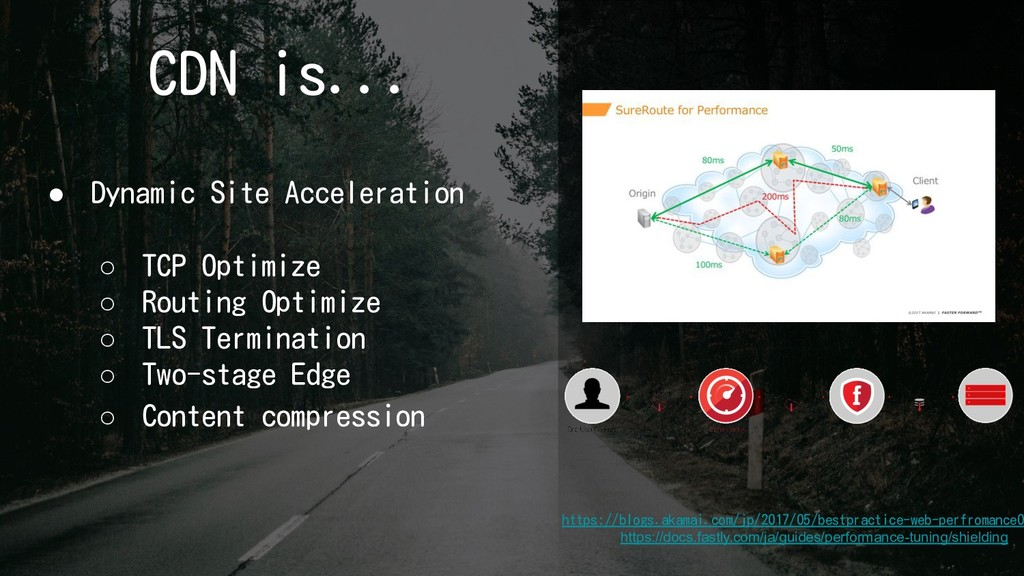 CDN is... ● Dynamic Site Acceleration ○ TCP Opt...
