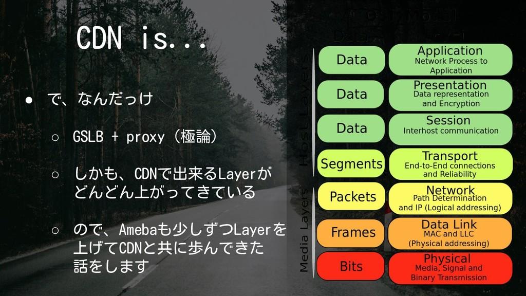 CDN is... ● で、なんだっけ ○ GSLB + proxy(極論) ○ しかも、CD...