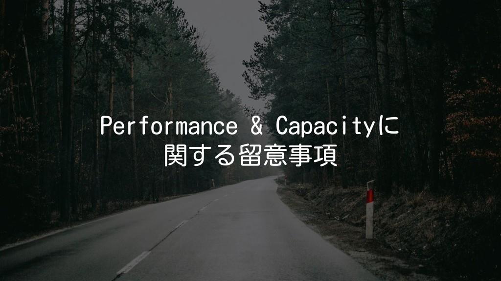 Performance & Capacityに 関する留意事項