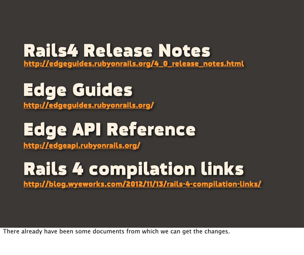 Edge Guides http://edgeguides.rubyonrails.org/ ...