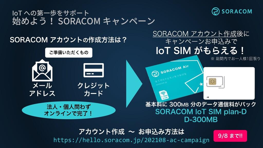 IoT への第一歩をサポート 始めよう! SORACOM キャンペーン https://hel...