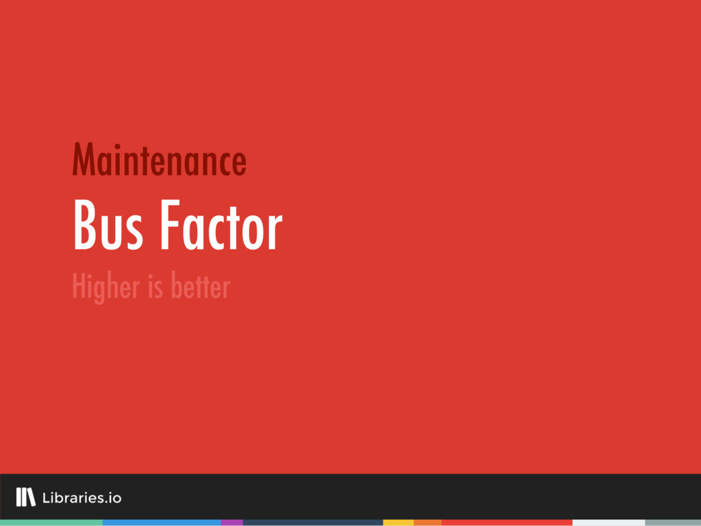 Bus Factor Maintenance Higher is better