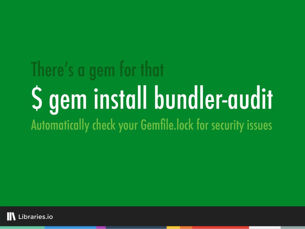 $ gem install bundler-audit There's a gem for t...