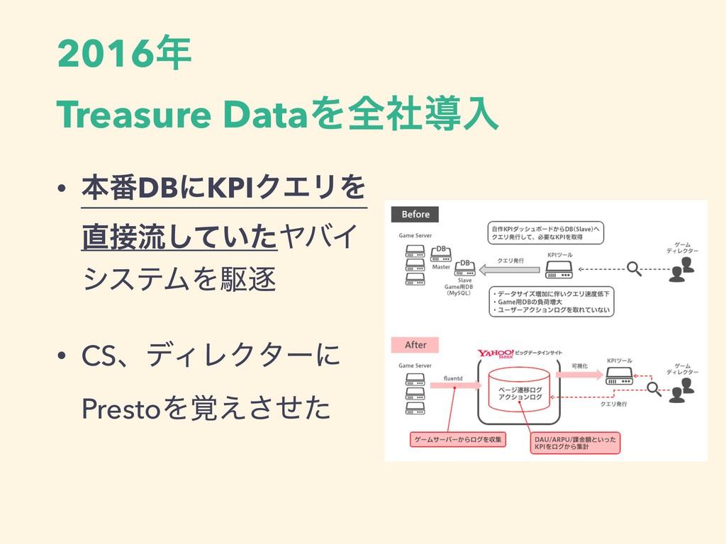 2016 Treasure DataΛશࣾಋೖ • ຊ൪DBʹKPIΫΤϦΛ ྲྀ͍ͯͨ͠...