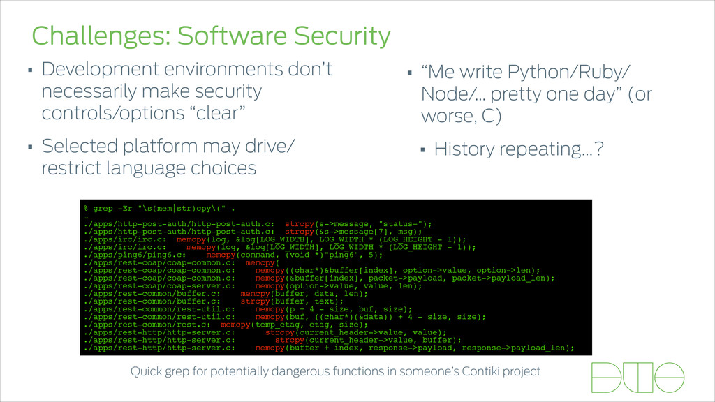 Challenges: Software Security • Development env...