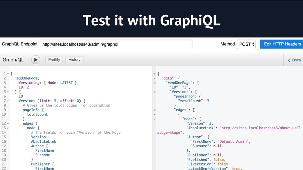 Test it with GraphiQL