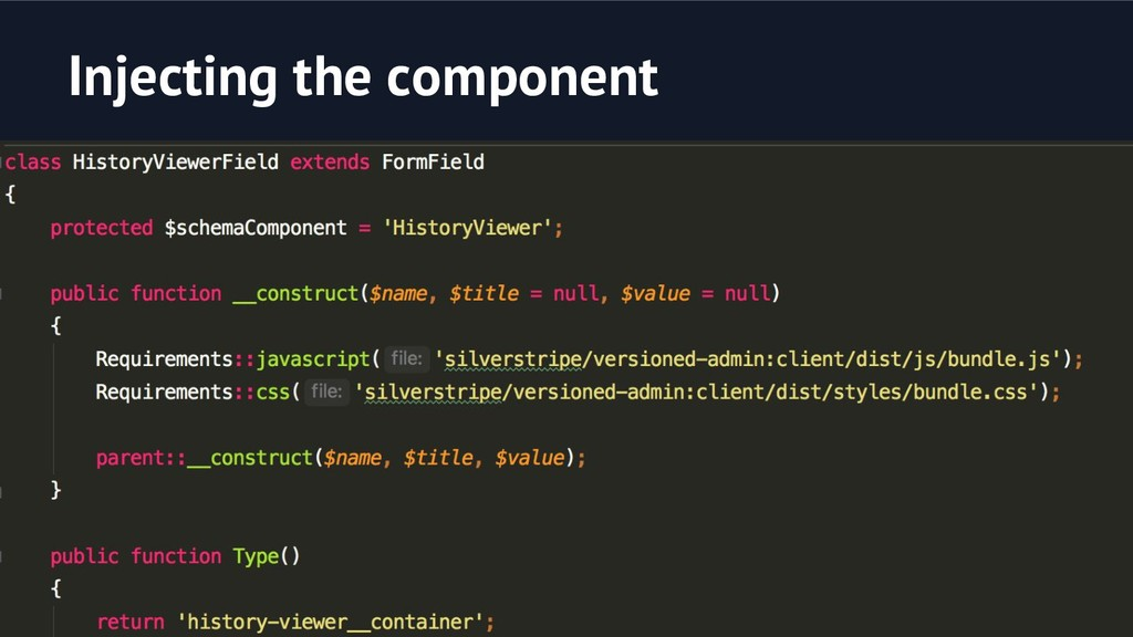 Injecting the component A PHP FormField with a ...