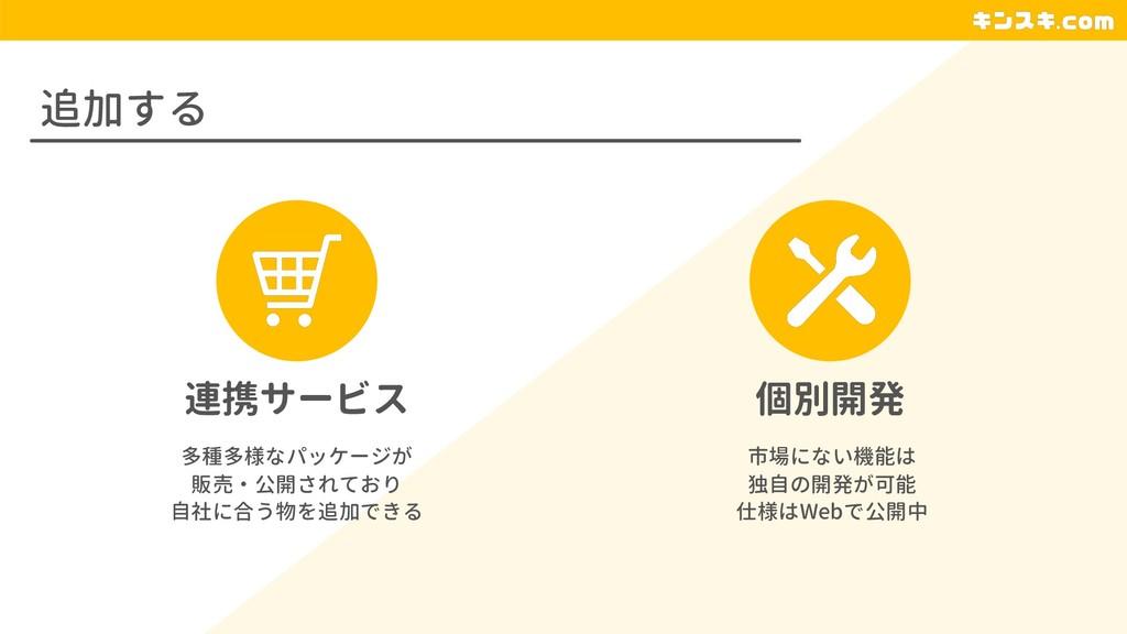 追加する 連携サービス 個別開発 多種多様なパッケージが 販売・公開されており 自社に合う物を...