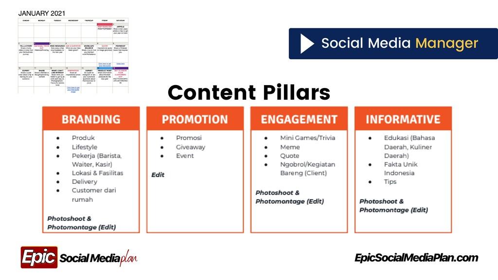 Social Media Manager Content Pillars plan Socia...