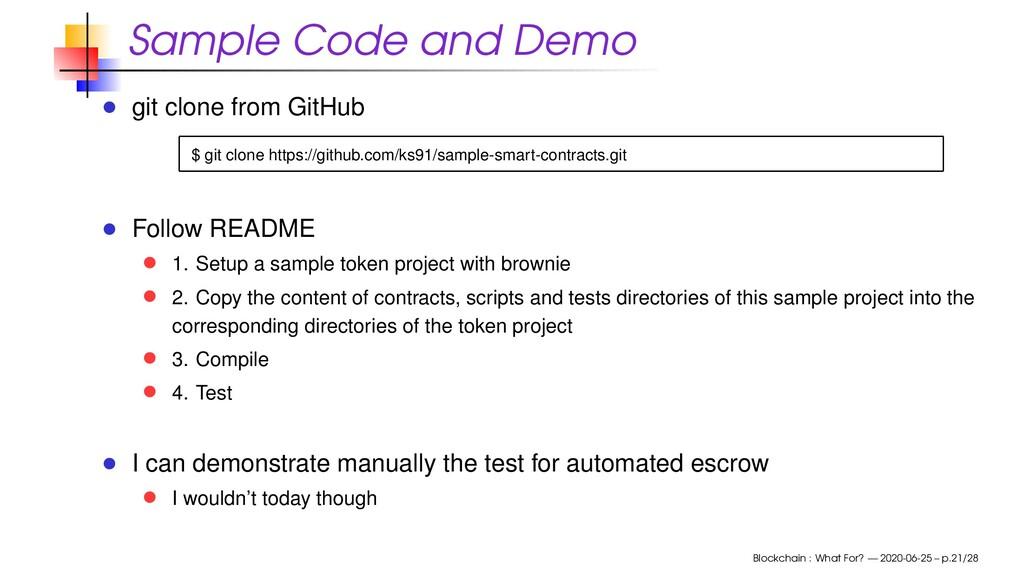 Sample Code and Demo git clone from GitHub $ gi...
