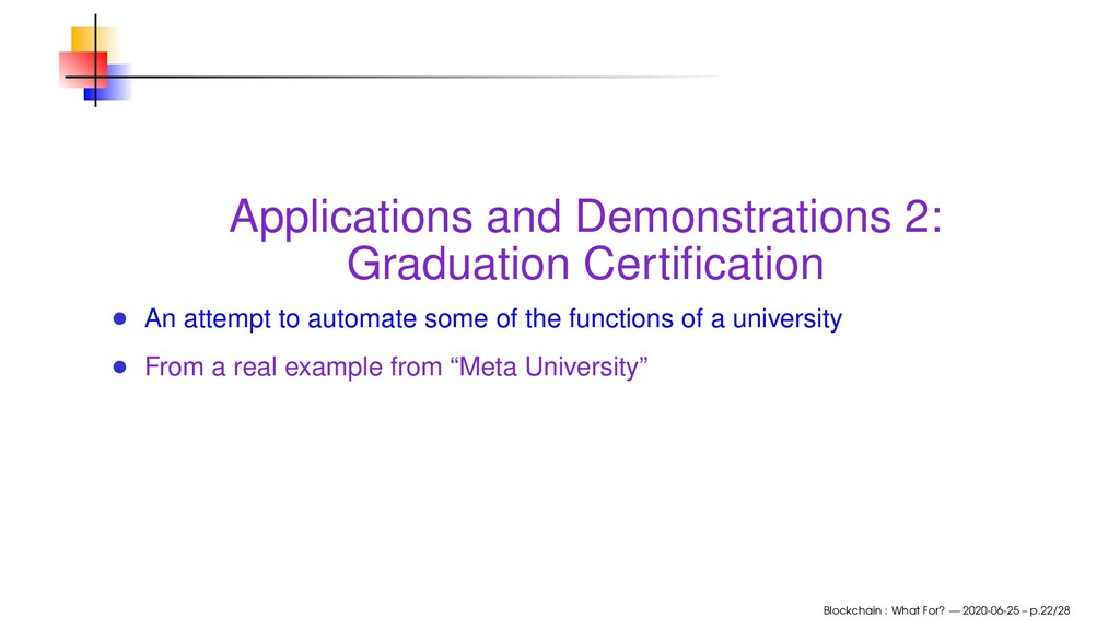 Applications and Demonstrations 2: Graduation C...