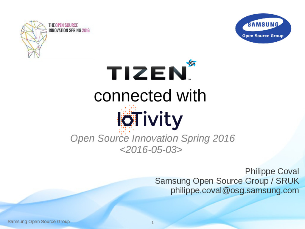 Samsung Open Source Group 1 connected with Open...