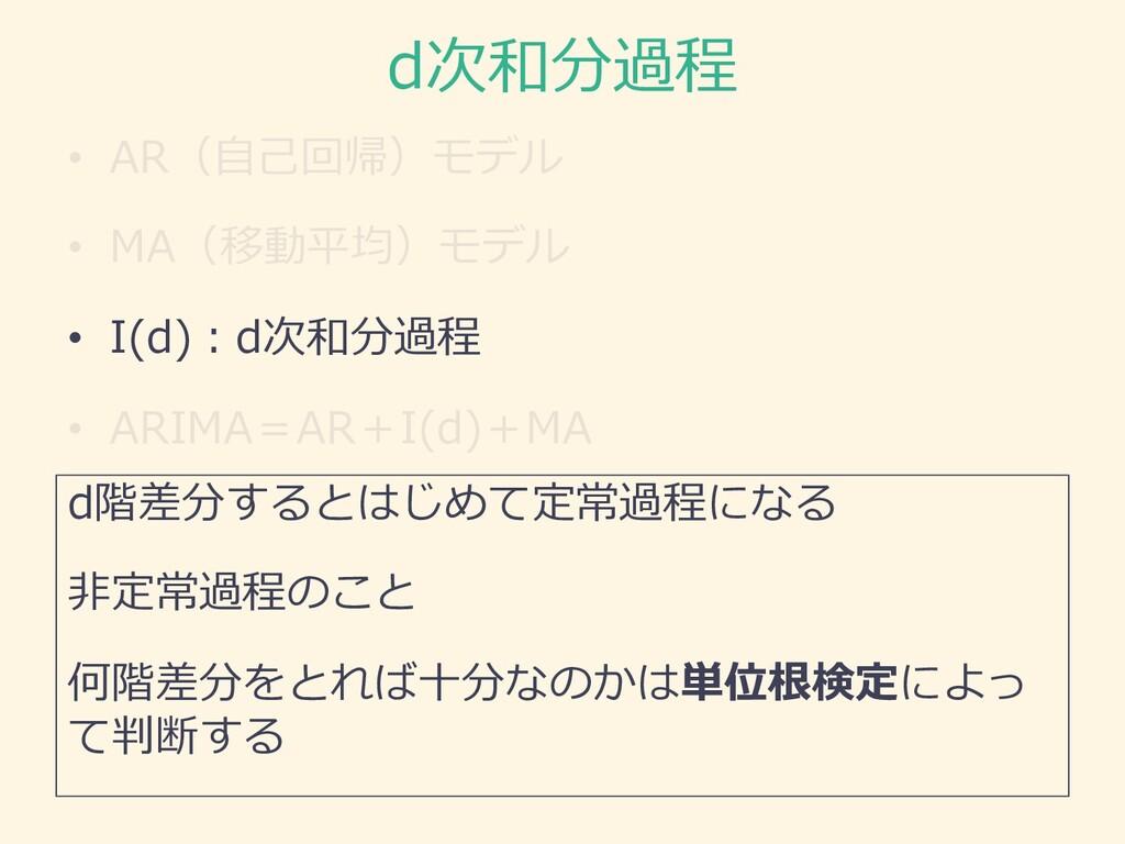 d次和分過程 • AR(⾃⼰回帰)モデル • MA(移動平均)モデル • I(d)︓d次和分過...