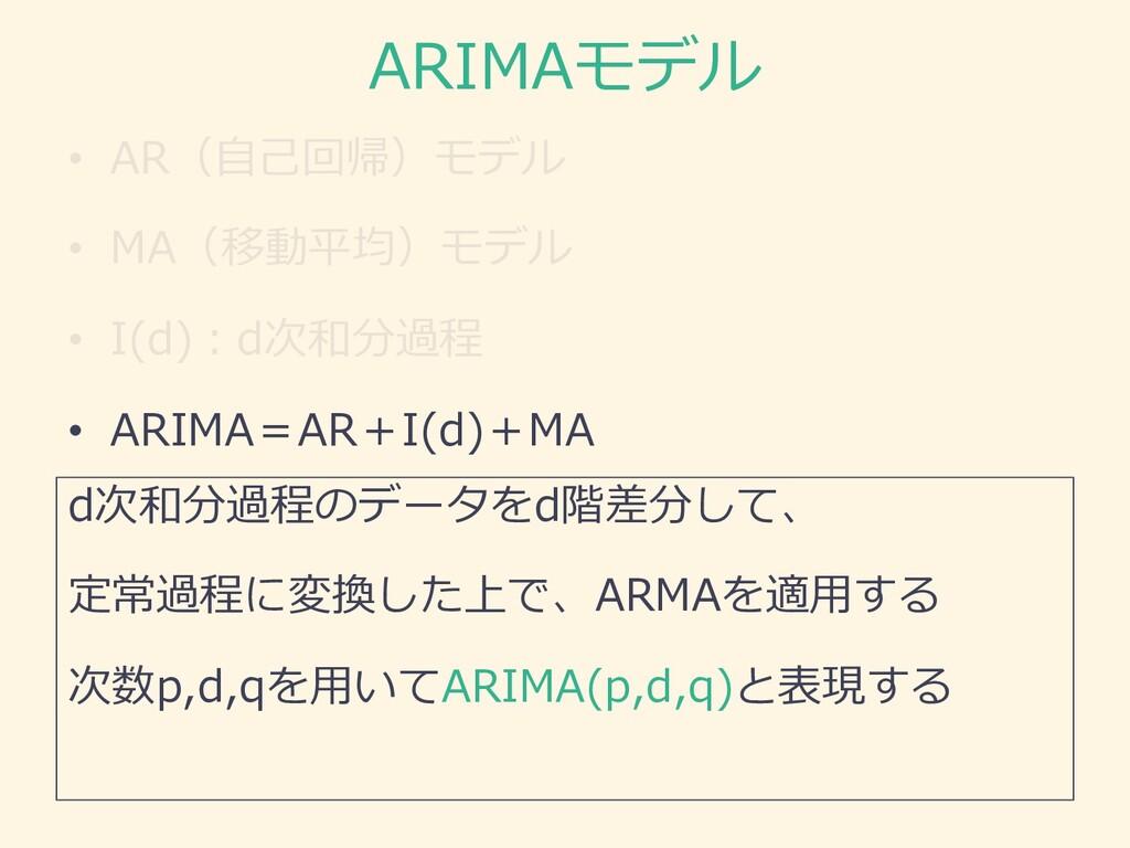ARIMAモデル • AR(⾃⼰回帰)モデル • MA(移動平均)モデル • I(d)︓d次和...