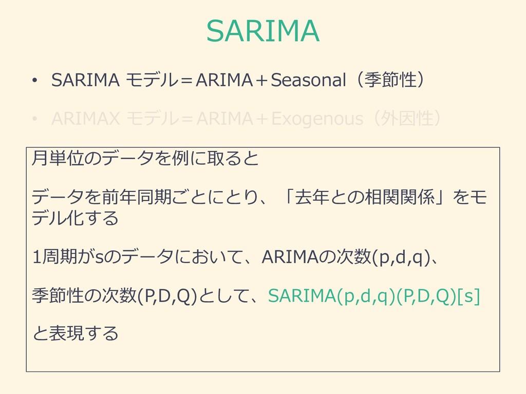 SARIMA • SARIMA モデル=ARIMA+Seasonal(季節性) • ARIMA...