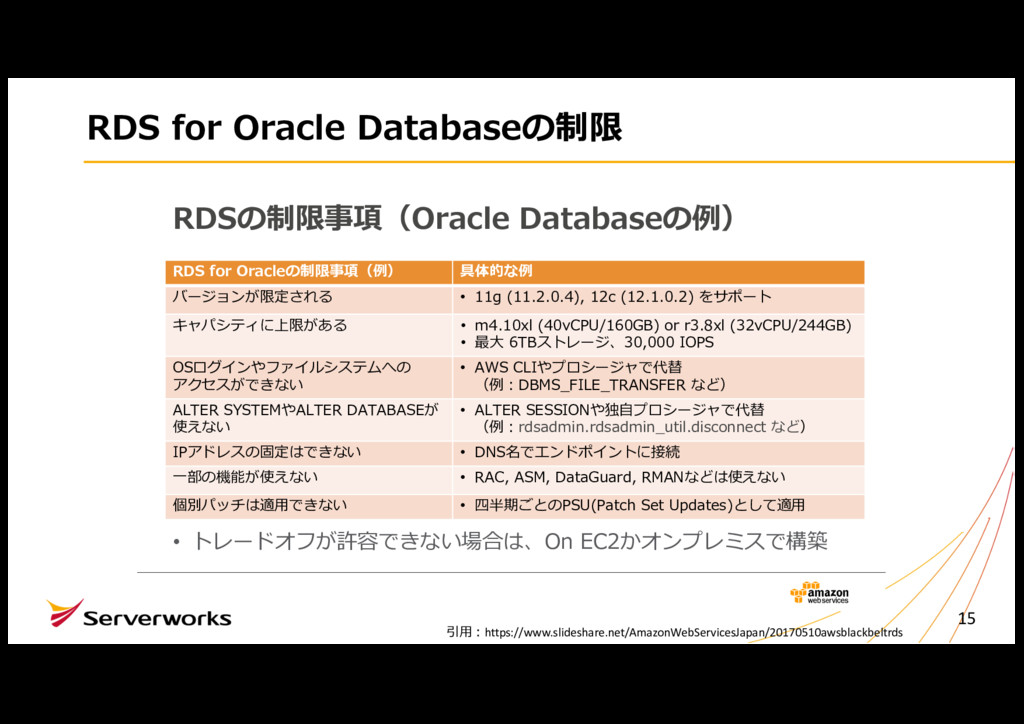 RDS for Oracle Databaseの制限 15 RDSの制限事項(Oracle D...
