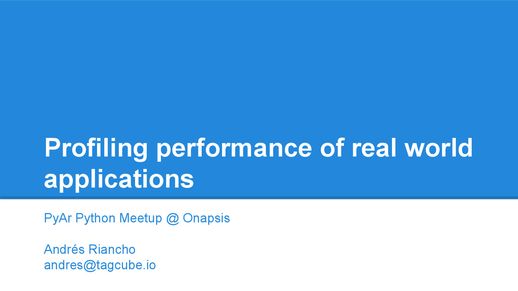 Profiling performance of real world application...