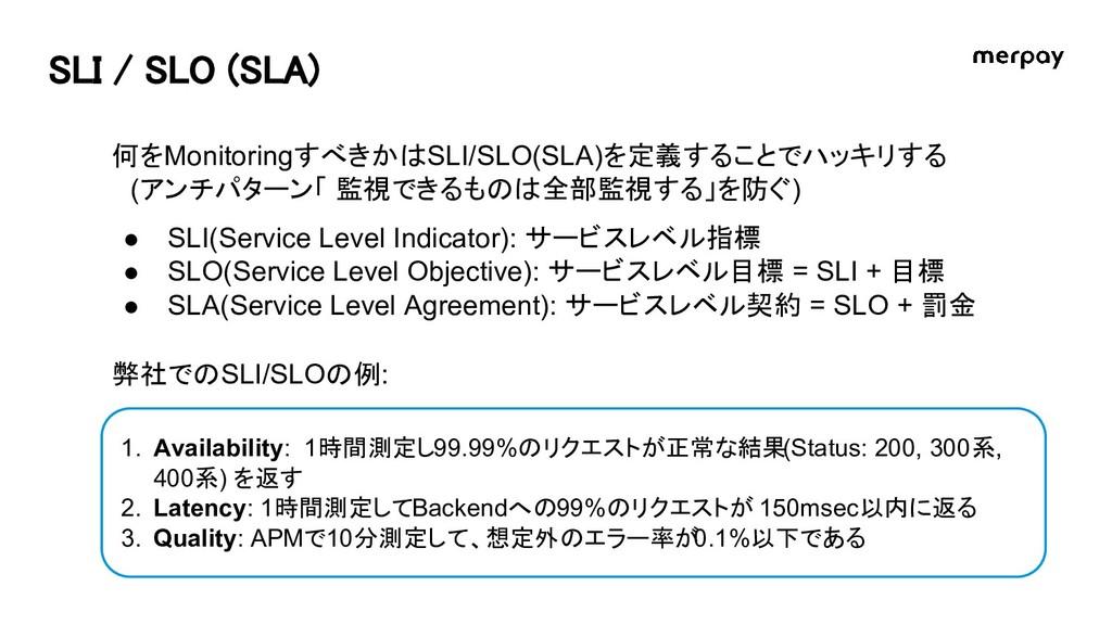 SLI / SLO (SLA) 何をMonitoringすべきかはSLI/SLO(SLA)を定...