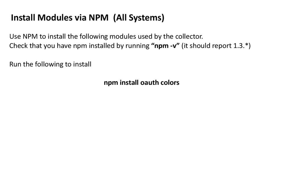 Install Modules via NPM  (All ...