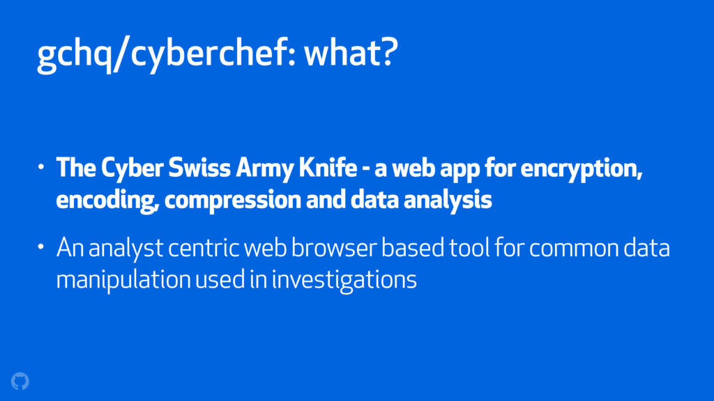 gchq/cyberchef: what? • The Cyber Swiss Army Kn...