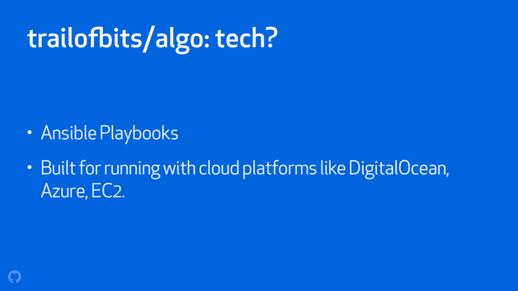 trailofbits/algo: tech? • Ansible Playbooks • B...