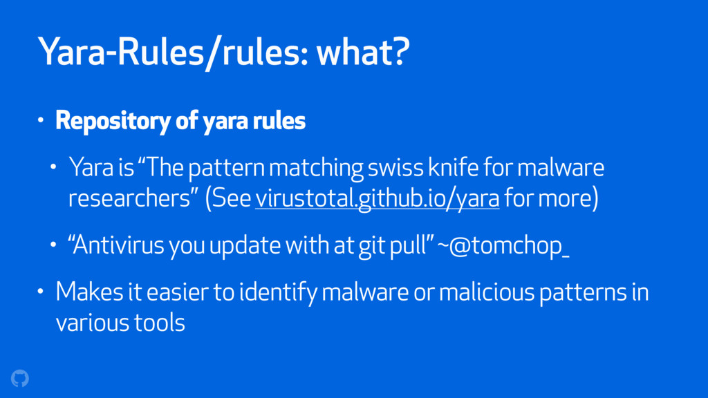 Yara-Rules/rules: what? • Repository of yara ru...