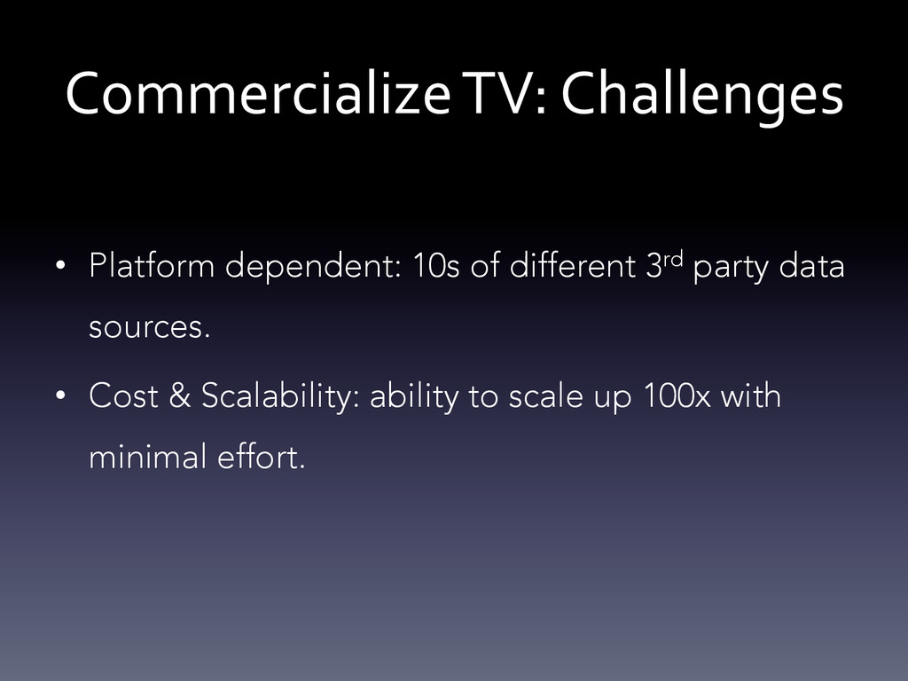 Commercialize TV: Challenges  • Platf...