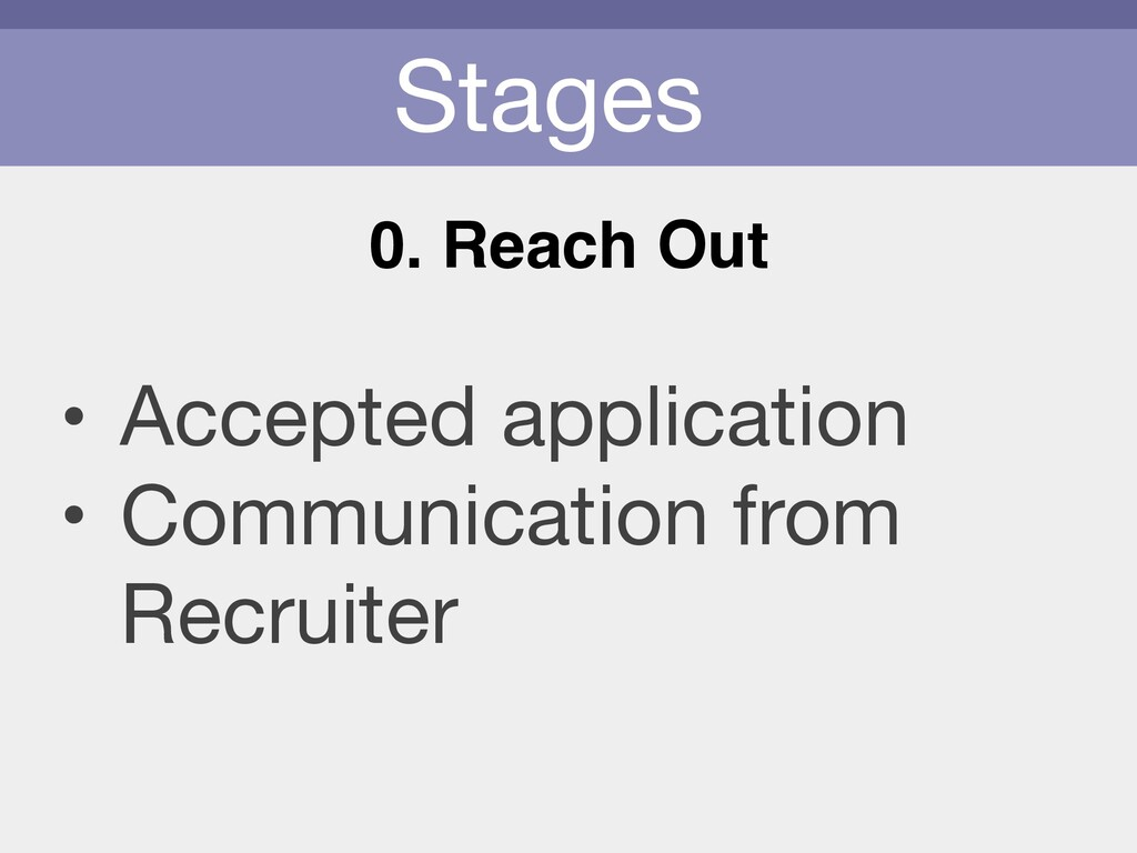 Stages 0. Reach Out • Accepted application  • C...