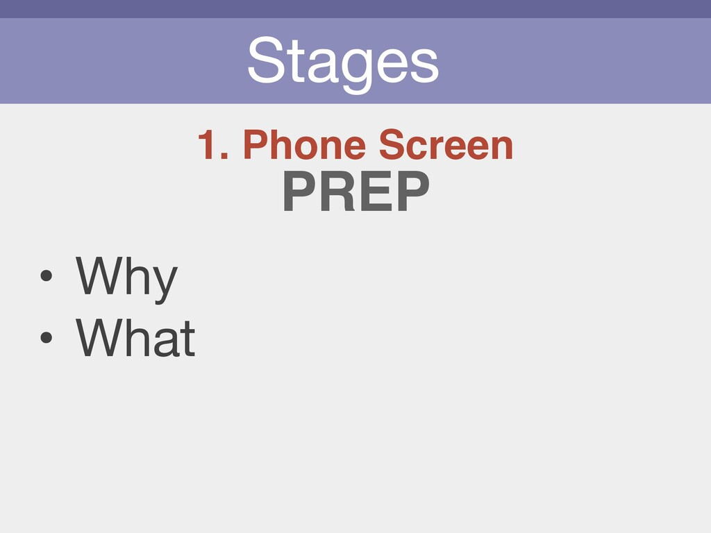 Stages 1. Phone Screen • Why  • What PREP