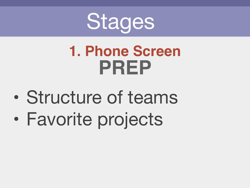 Stages 1. Phone Screen • Structure of teams  • ...