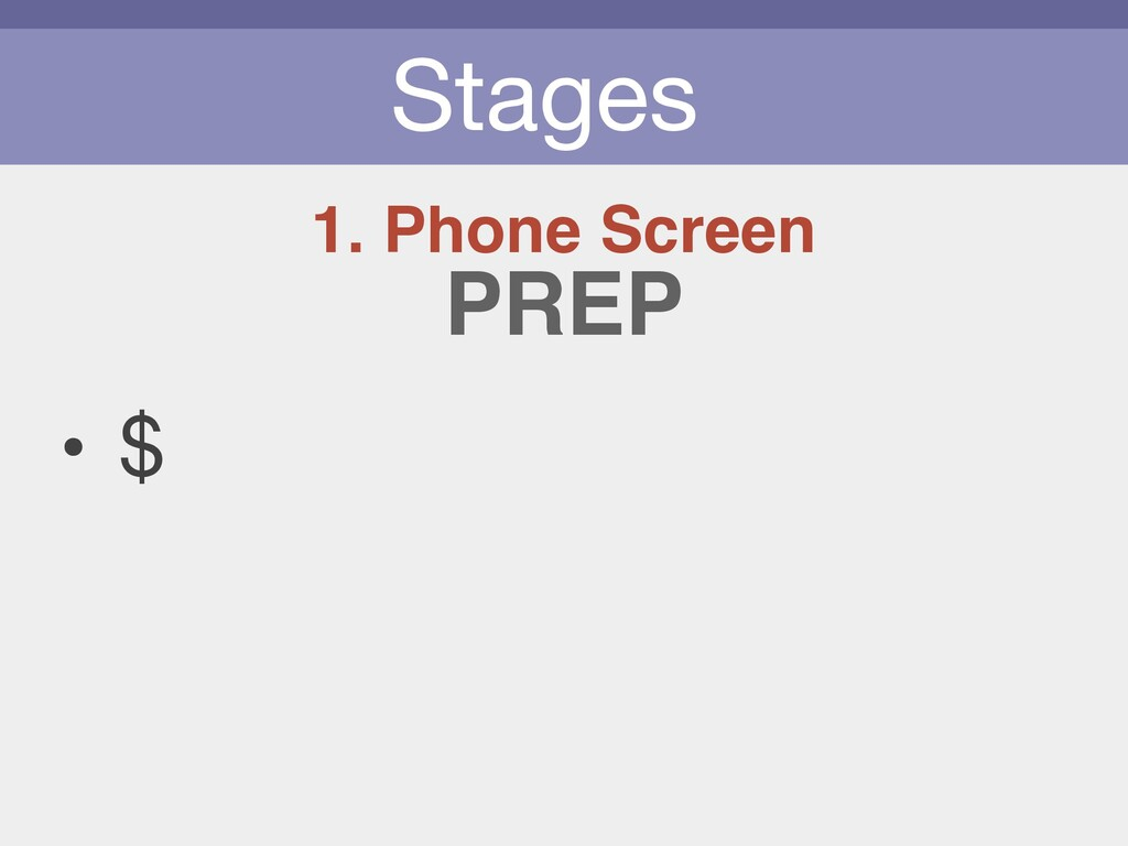 Stages 1. Phone Screen • $ PREP