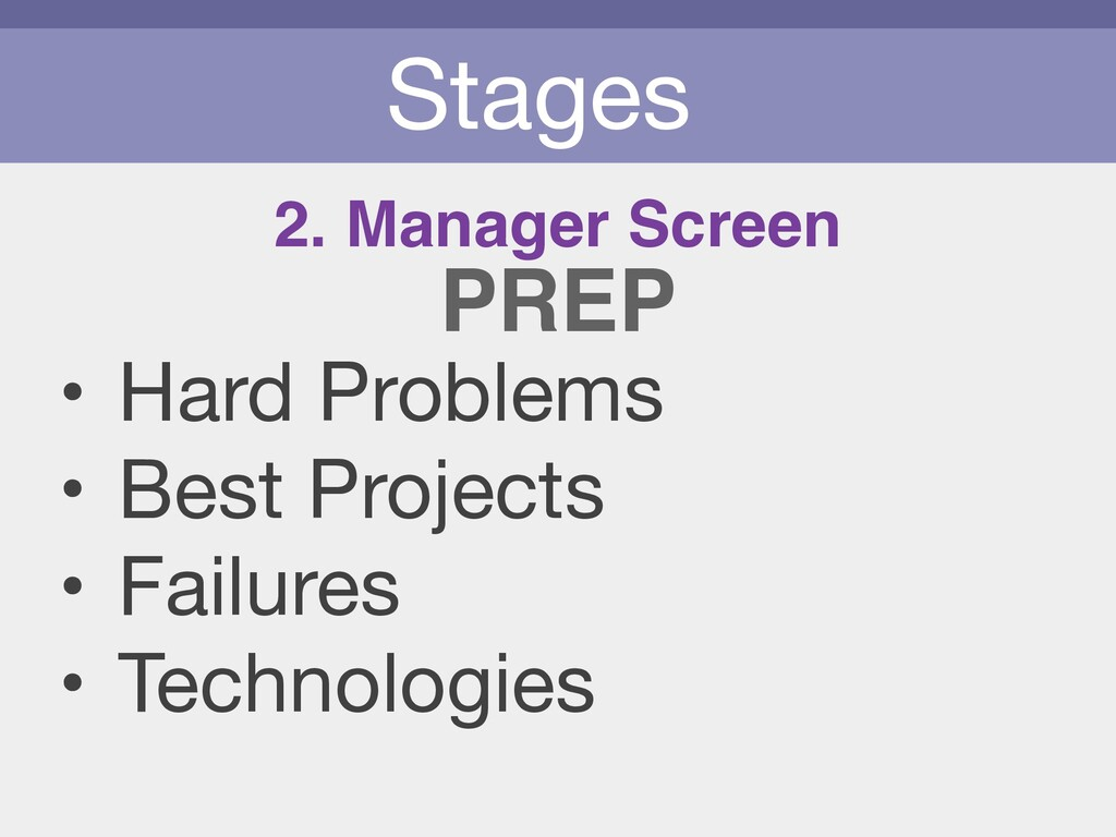 Stages • Hard Problems  • Best Projects  • Fail...