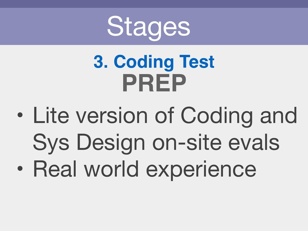 Stages 3. Coding Test • Lite version of Coding ...
