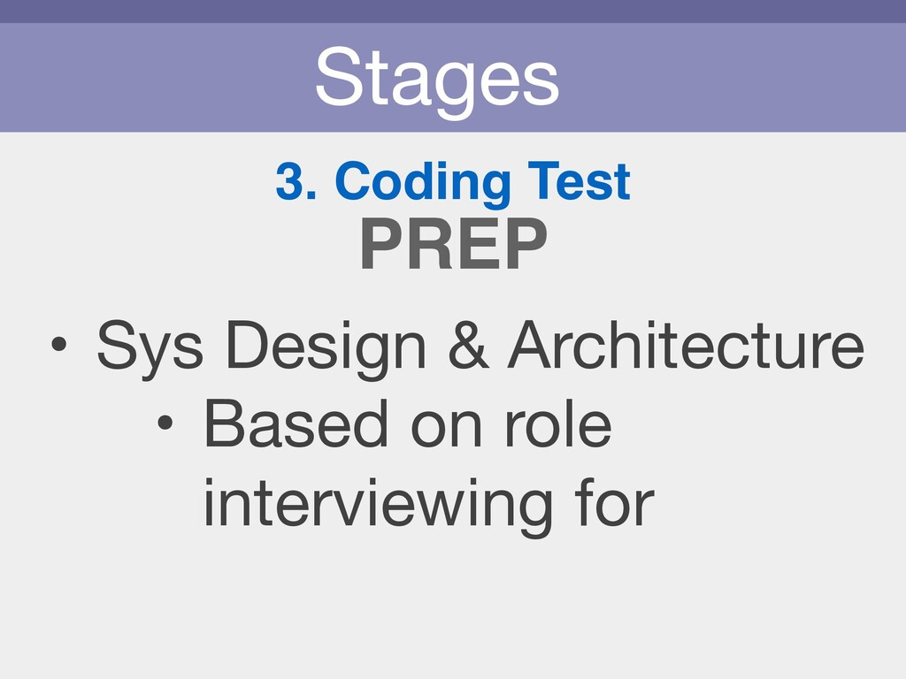Stages 3. Coding Test • Sys Design & Architectu...