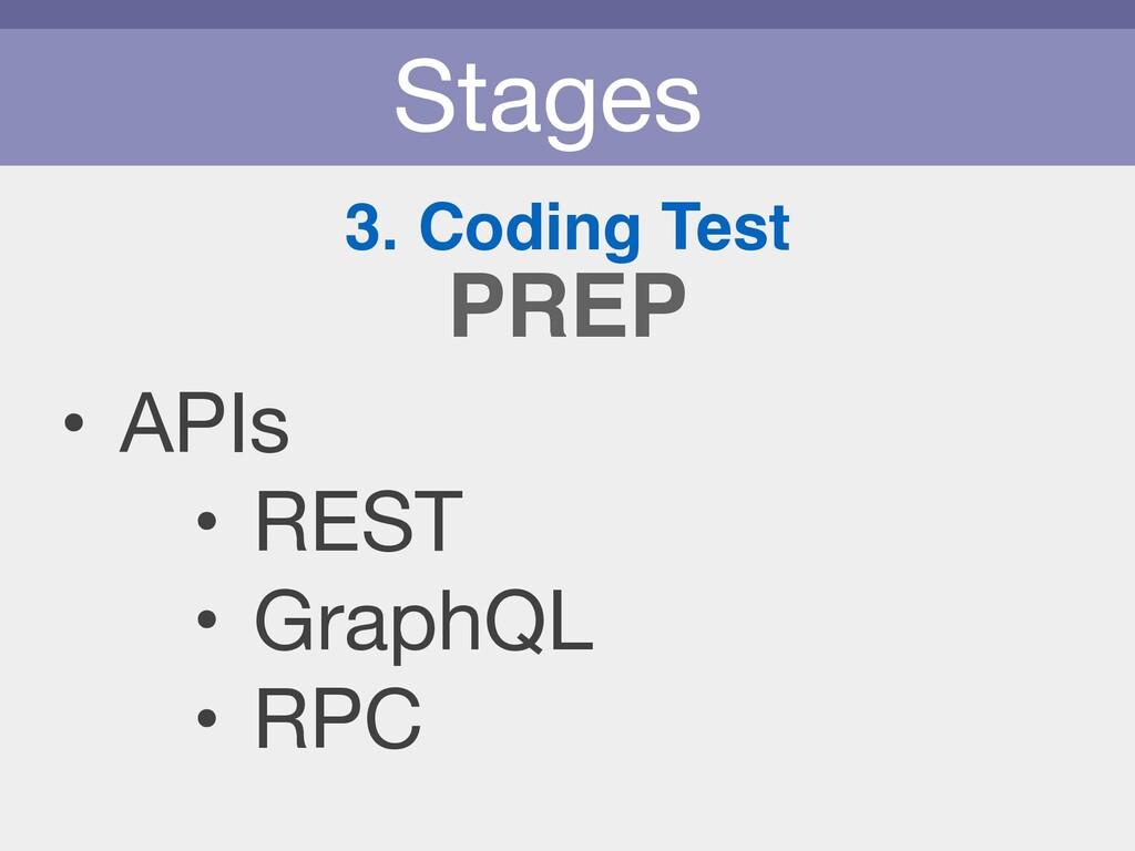 Stages 3. Coding Test • APIs  • REST  • GraphQL...