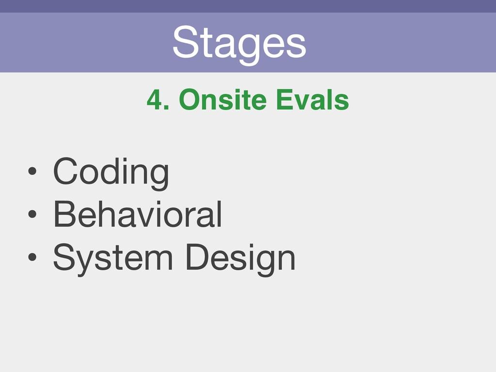 Stages 4. Onsite Evals • Coding  • Behavioral  ...