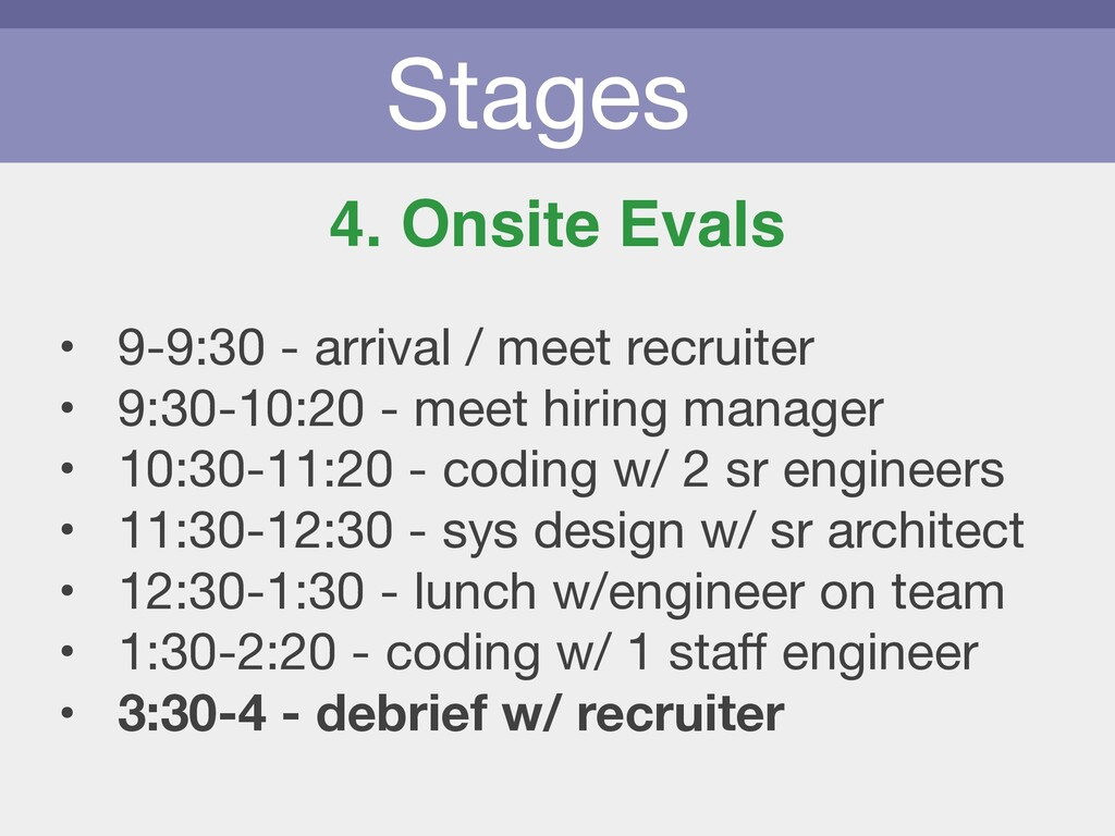 Stages 4. Onsite Evals • 9-9:30 - arrival / mee...