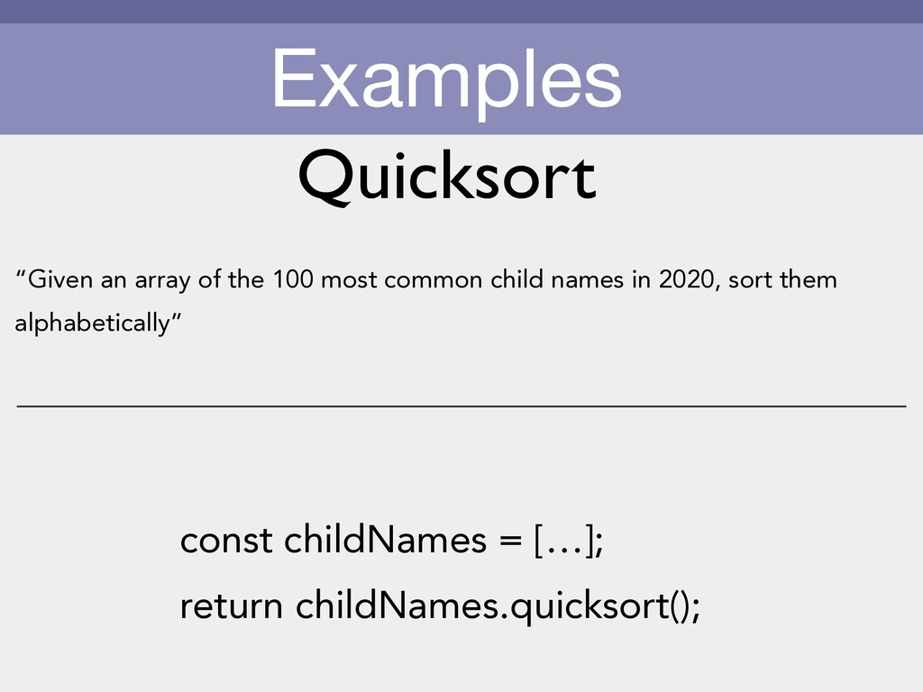 "Examples ""Given an array of the 100 most common..."