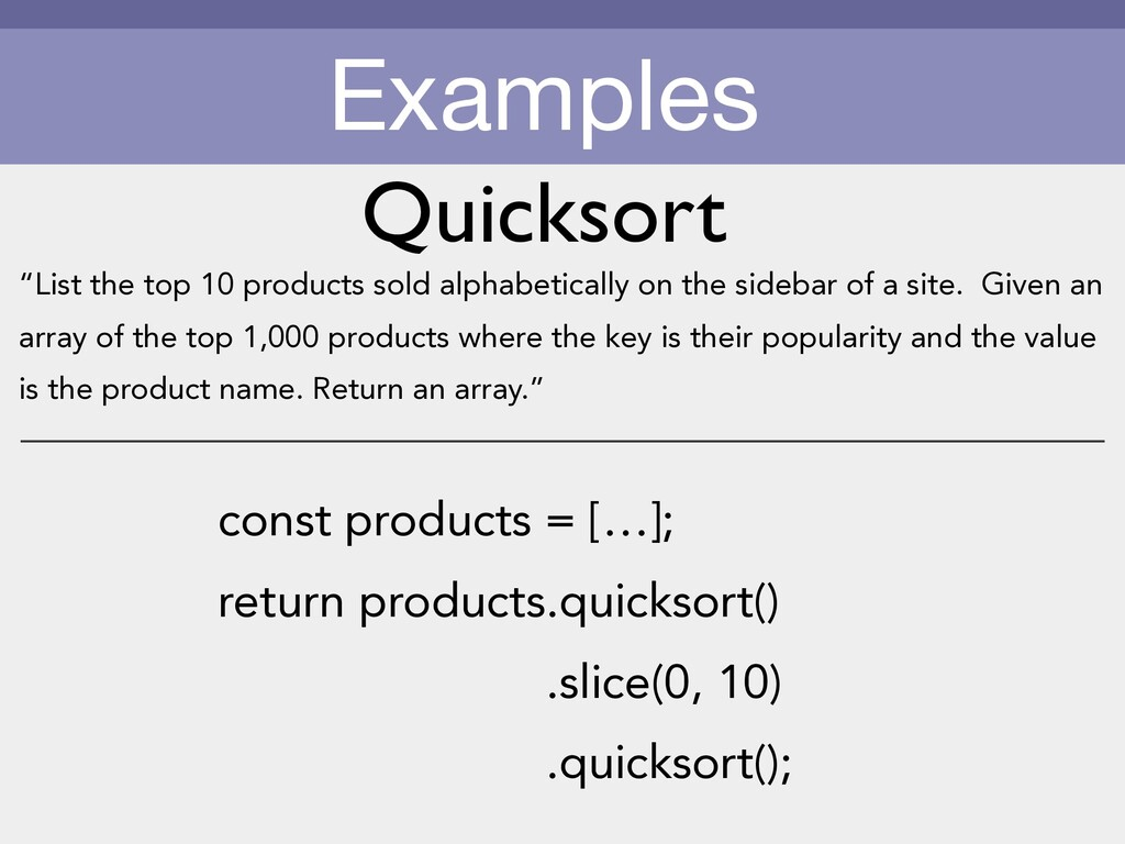 Examples const products = […]; return products....
