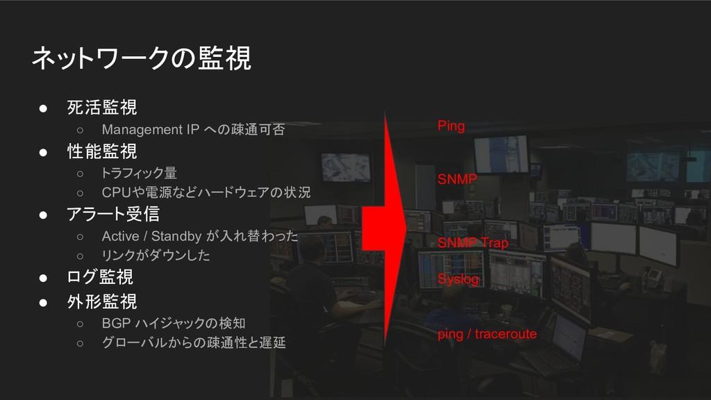 ネットワークの監視 ● 死活監視 ○ Management IP への疎通可否 ● 性能監視 ...