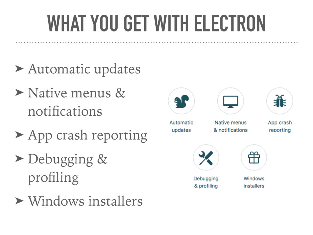 WHAT YOU GET WITH ELECTRON ➤ Automatic updates ...
