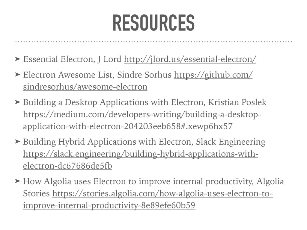RESOURCES ➤ Essential Electron, J Lord http://j...
