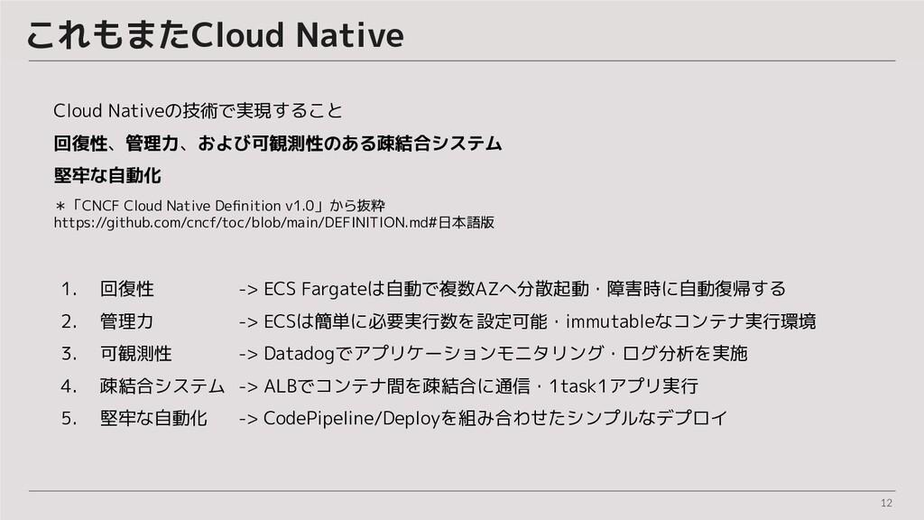 12 これもまたCloud Native  1. 回復性 -> ECS Fargateは自動で...