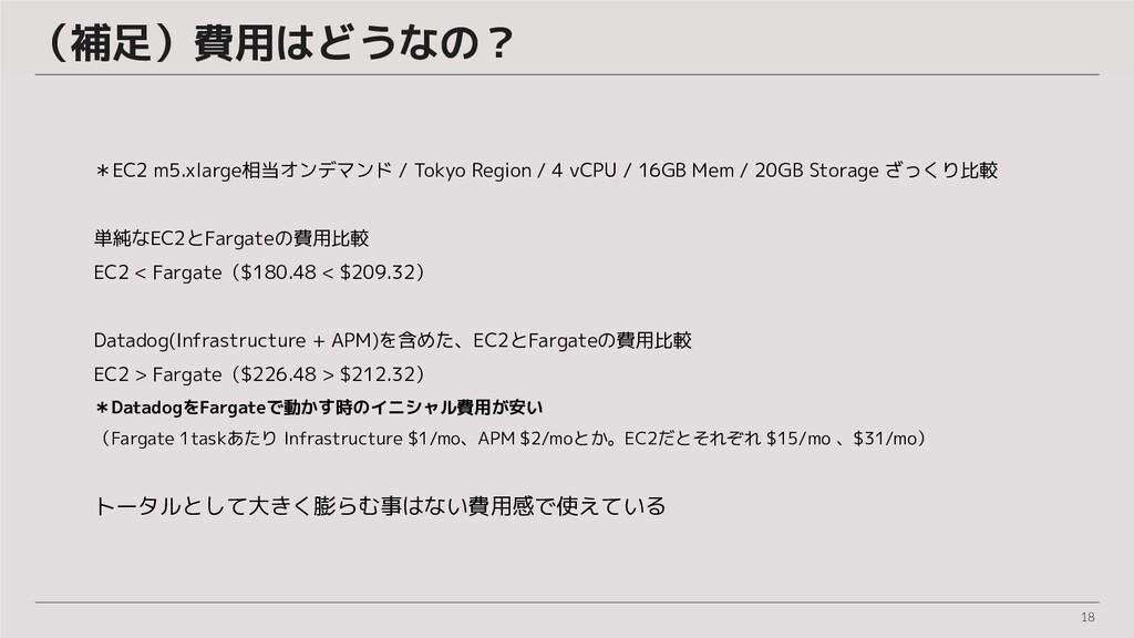 18 (補足)費用はどうなの?  *EC2 m5.xlarge相当オンデマンド / Tokyo...