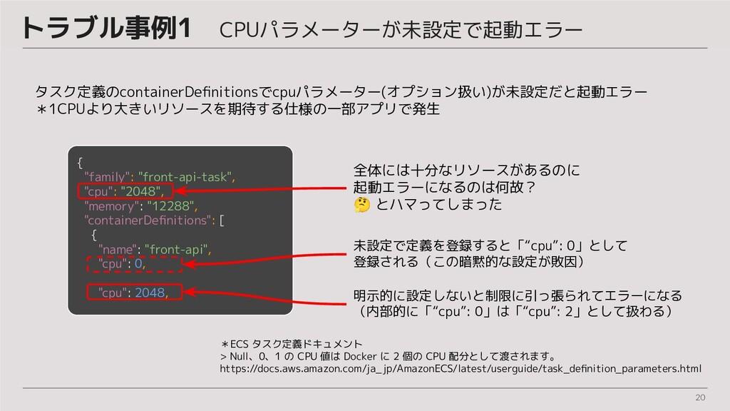 20 トラブル事例1 CPUパラメーターが未設定で起動エラー タスク定義のcontainerD...